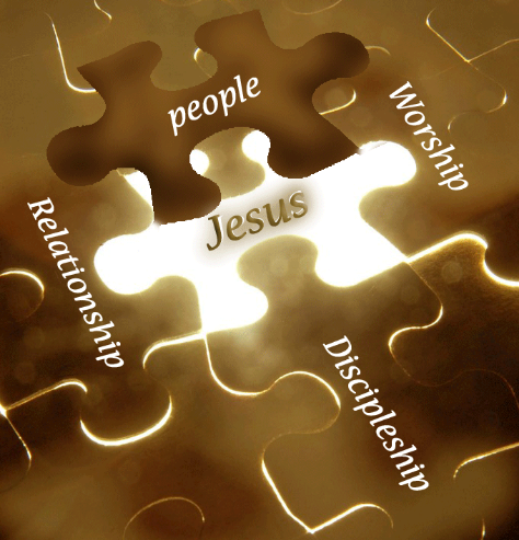 Puzzle pieces depicting the connection between Jesus and the people of the church