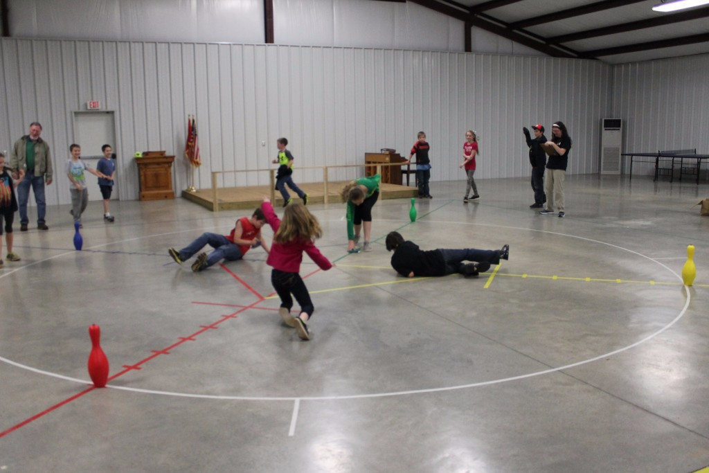 children playing games in a gym